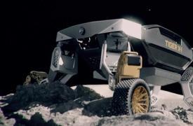 现代的新型机器人汽车可以在另一个星球的表面上行驶和行走